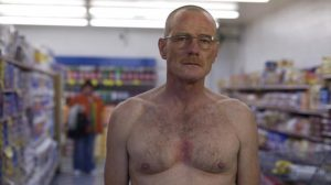 walt is mad, naked at the supermarket, season 2 Breaking Bad