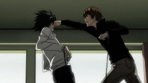 Light Yagami fights Elle (L), Death Note